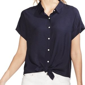 New Vince Camuto Tie Front Hammered Satin Blouse